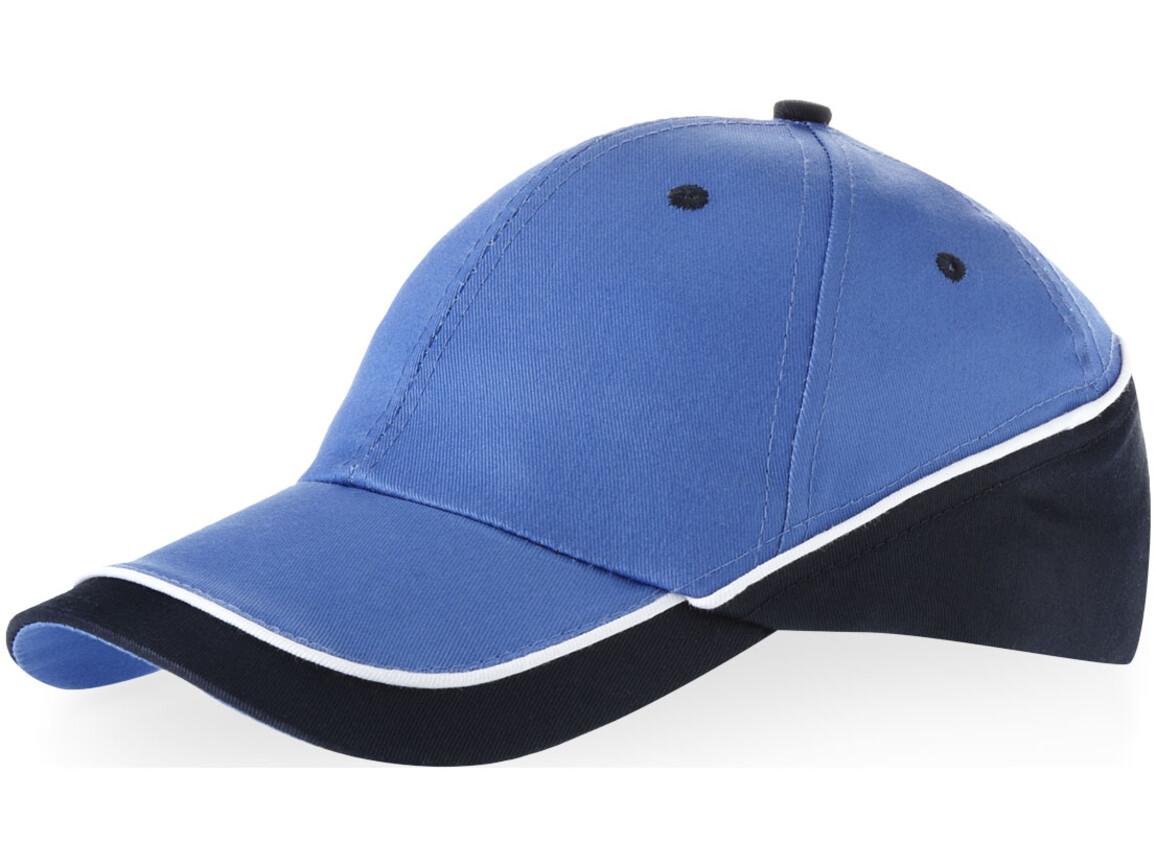 Draw Kappe mit 6 Segmenten, himmelblau, navy bedrucken, Art.-Nr. 11100302