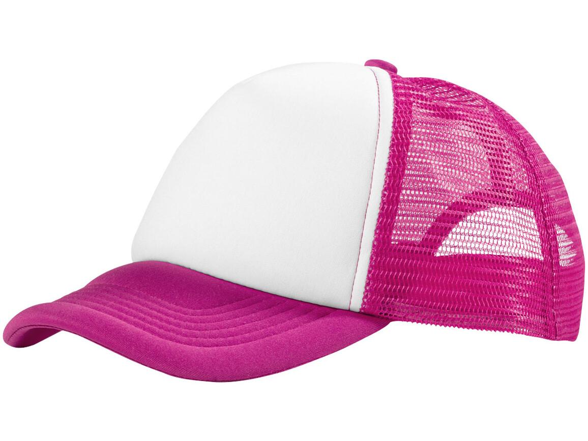 Trucker Kappe mit 5 Segmenten, rosa, weiss bedrucken, Art.-Nr. 11106905