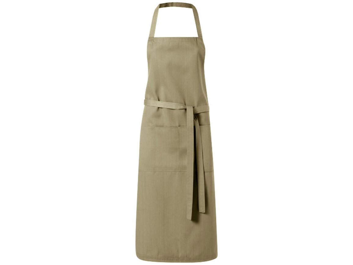 Viera Schürze mit 2 Taschen, khaki bedrucken, Art.-Nr. 11205305