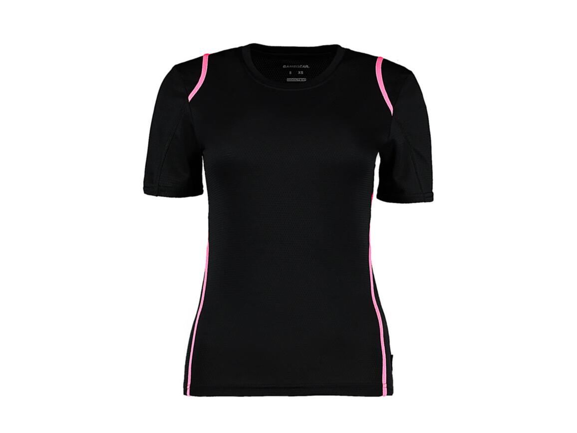 Kustom Kit Women`s Regular Fit Cooltex® Contrast Tee, Black/Fluorescent Pink, S bedrucken, Art.-Nr. 002111782