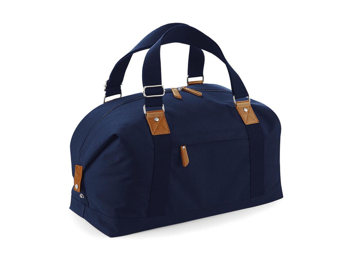Bag Base Vintage Overnighter, French Navy, One Size bedrucken, Art.-Nr. 014292010