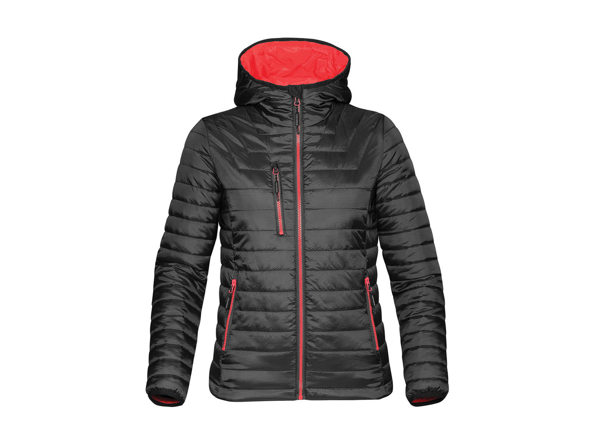 StormTech Women`s Gravity Thermal Jacket, Black/True Red, XS bedrucken, Art.-Nr. 015181632