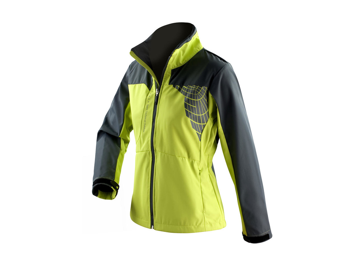 Result Women`s Team Soft Shell Jacket, Lime/Grey, M bedrucken, Art.-Nr. 015335554