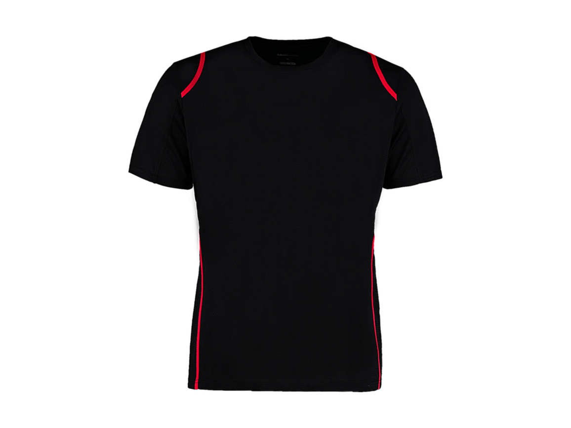 Kustom Kit Regular Fit Cooltex® Contrast Tee, Black/Red, M bedrucken, Art.-Nr. 021111544