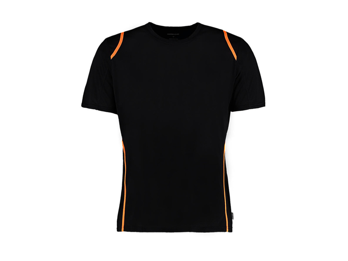 Kustom Kit Regular Fit Cooltex® Contrast Tee, Black/Fluorescent Orange, XS bedrucken, Art.-Nr. 021111682