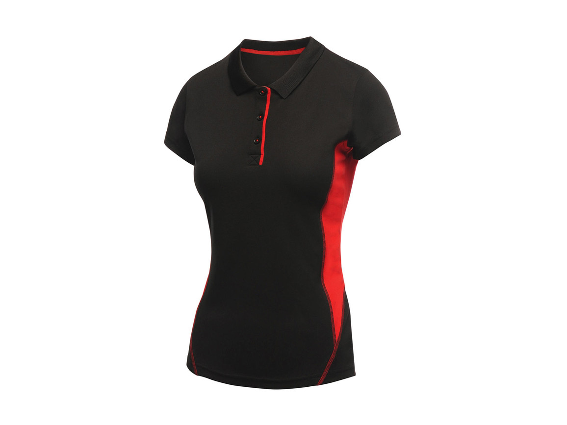Regatta Ladies Salt Lake Polo, Black, 8 (34) bedrucken, Art.-Nr. 021171012