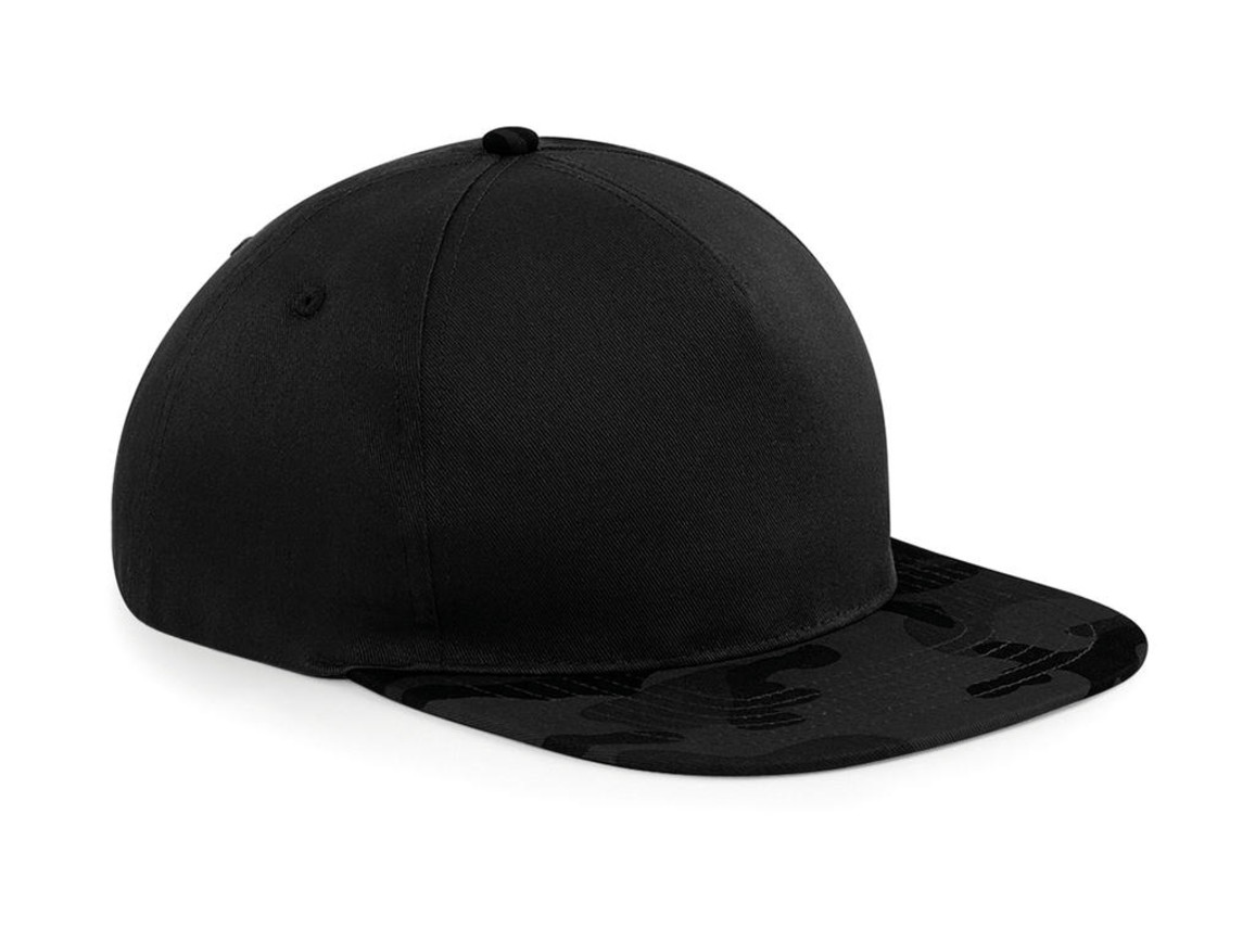 Beechfield Camo Snapback, Black/Midnight Camo, One Size bedrucken, Art.-Nr. 022691830