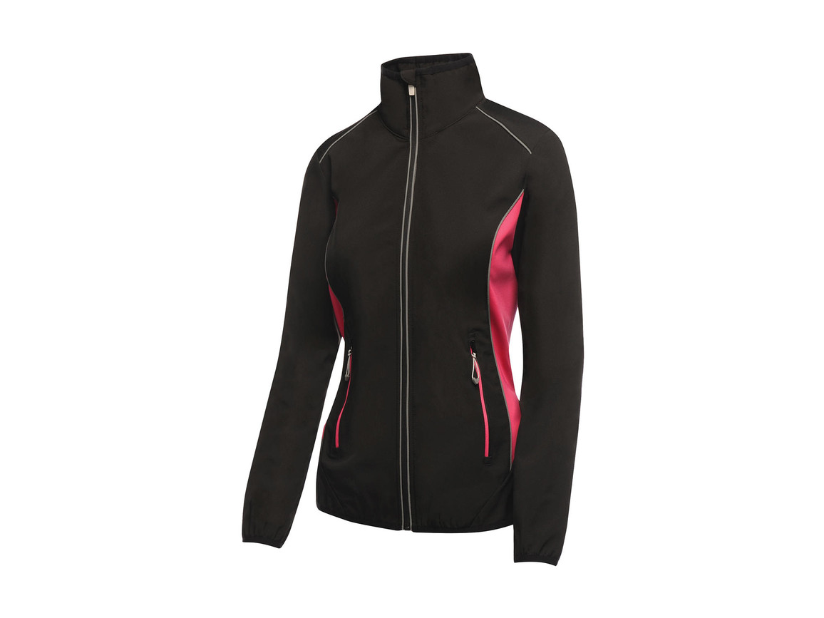 Regatta Ladies Sochi Softshell, Black/Hot Pink, 8 (34) bedrucken, Art.-Nr. 025171692