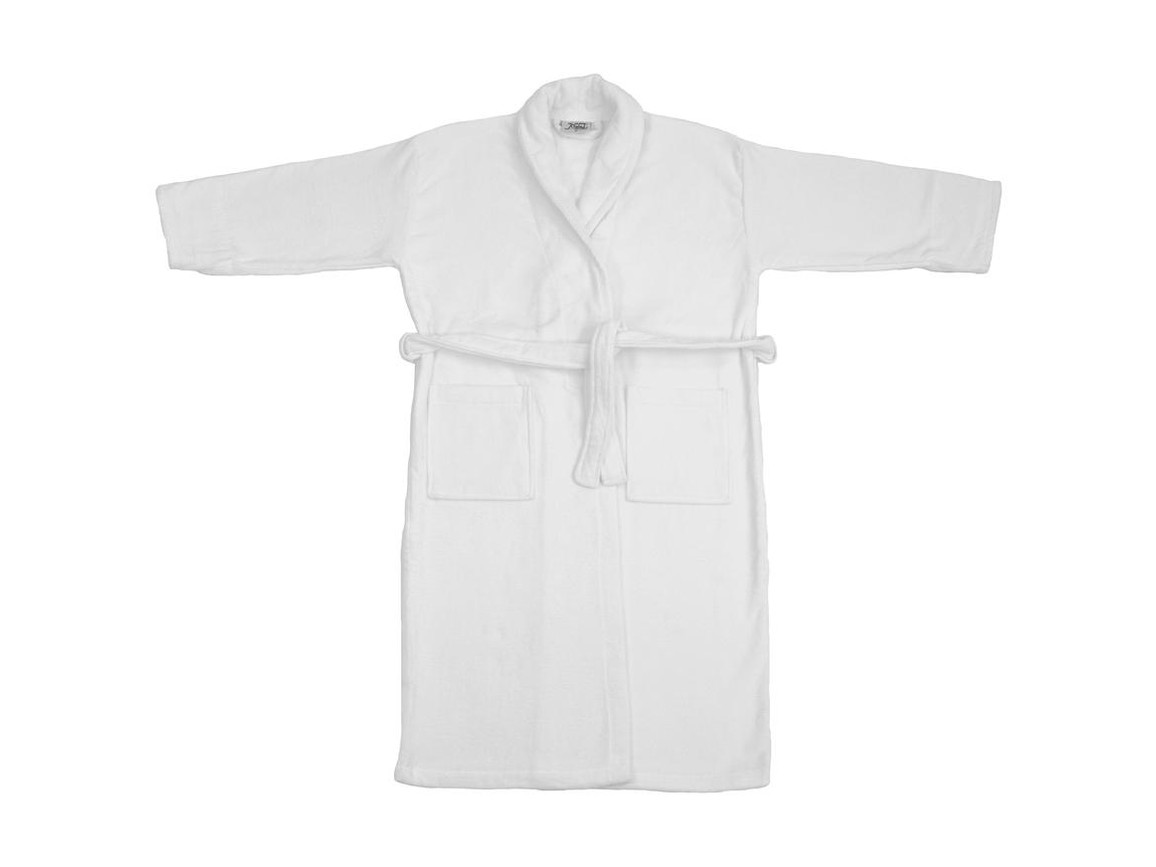 Jassz Towels Como Velours Bath Robe, White, M bedrucken, Art.-Nr. 025640004