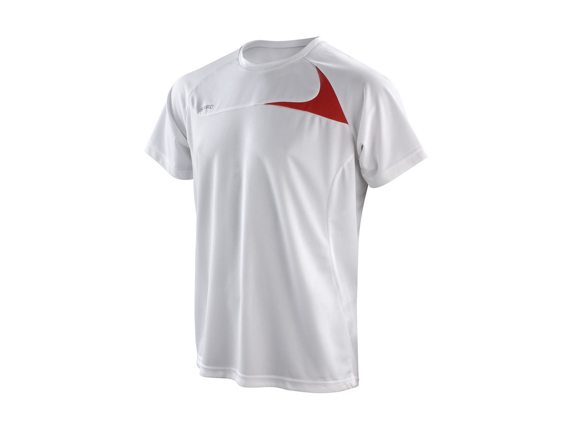 Result Spiro Men`s Dash Training Shirt, White/Red, L bedrucken, Art.-Nr. 027330575