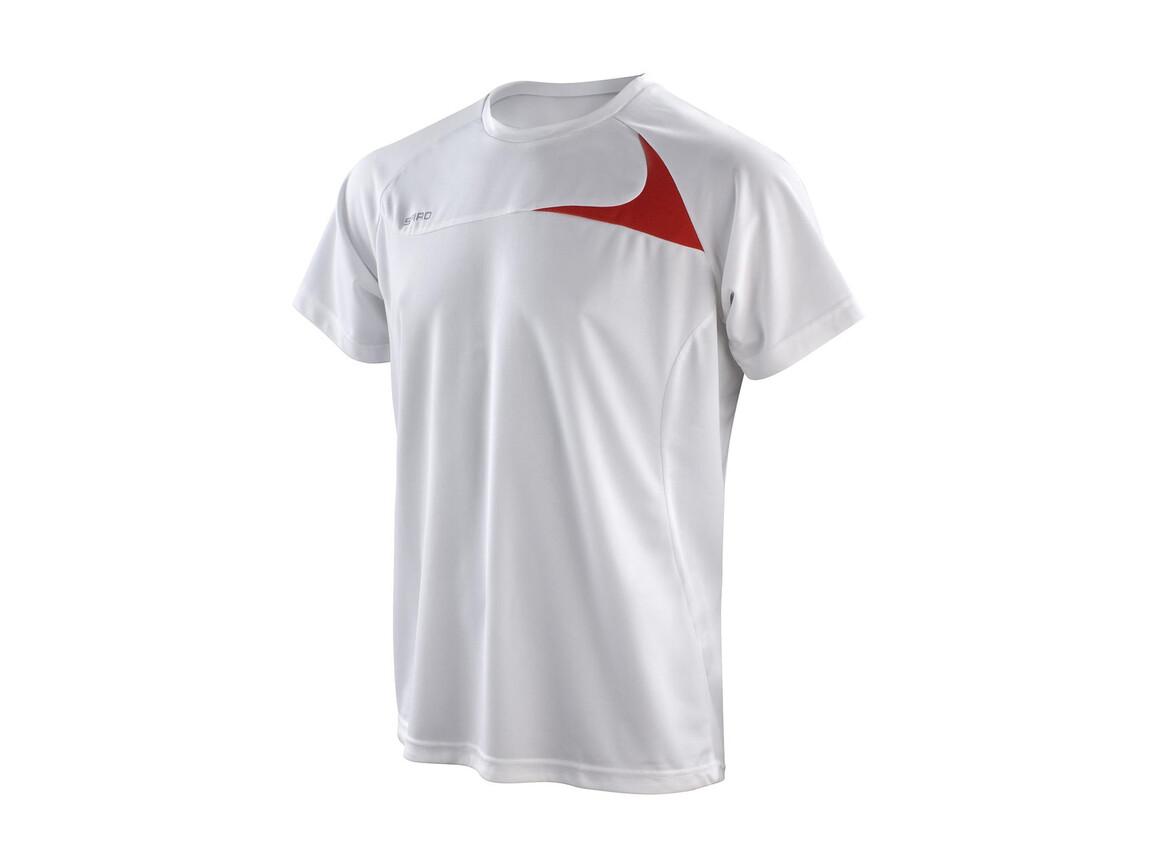Result Spiro Men`s Dash Training Shirt, White/Red, M bedrucken, Art.-Nr. 027330574