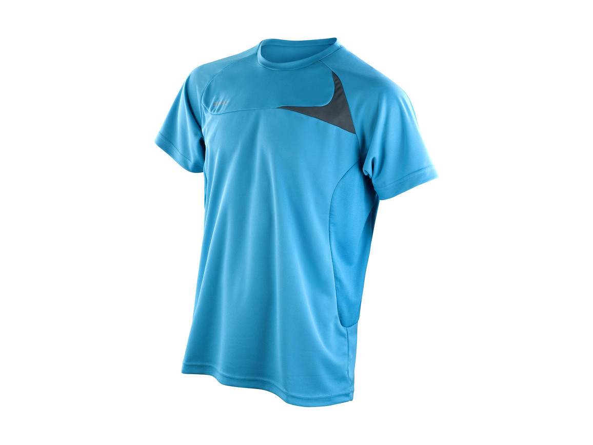 Result Spiro Men`s Dash Training Shirt, Aqua/Grey, S bedrucken, Art.-Nr. 027333513