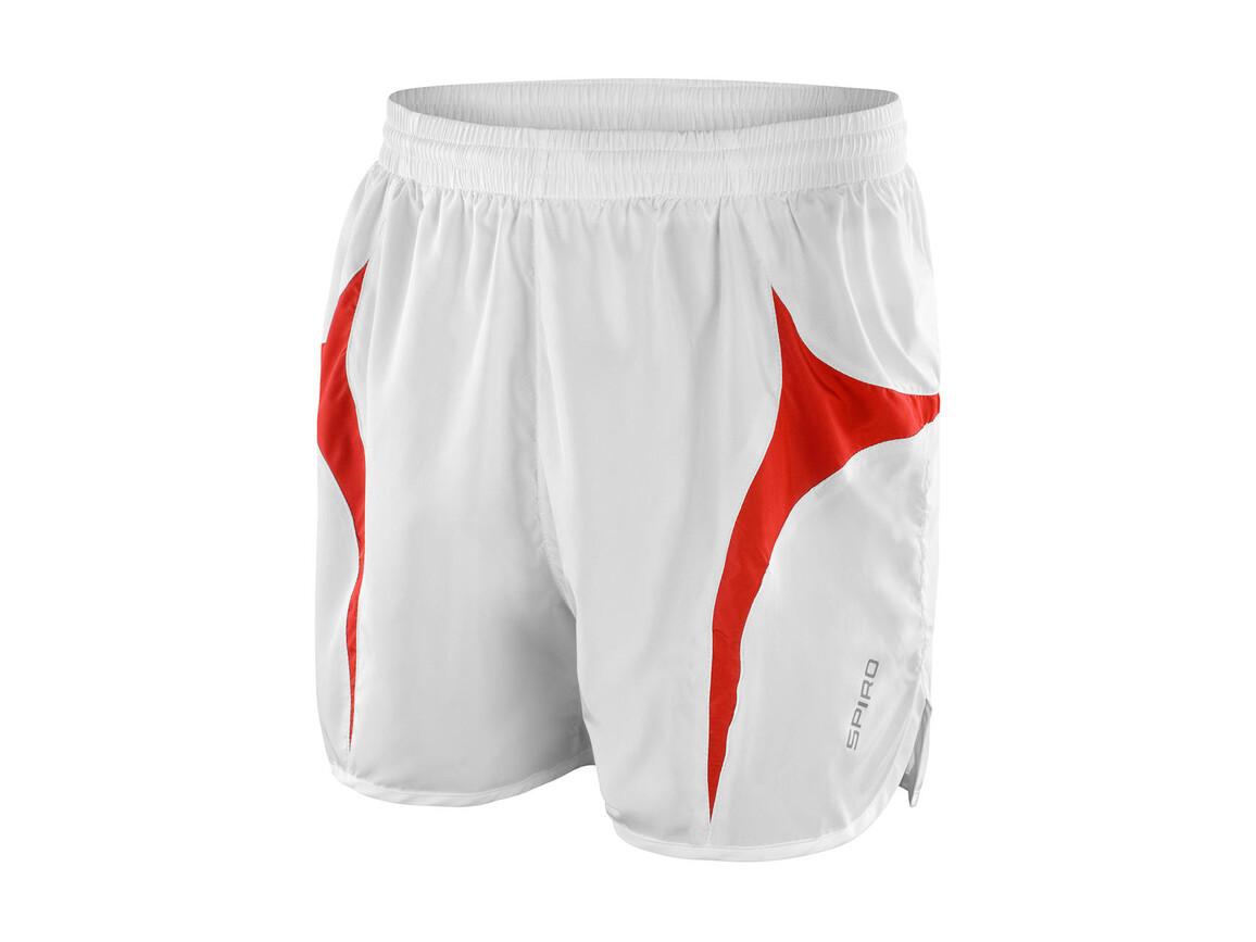 Result Unisex Micro Lite Running Shorts, White/Red, XL bedrucken, Art.-Nr. 029330576