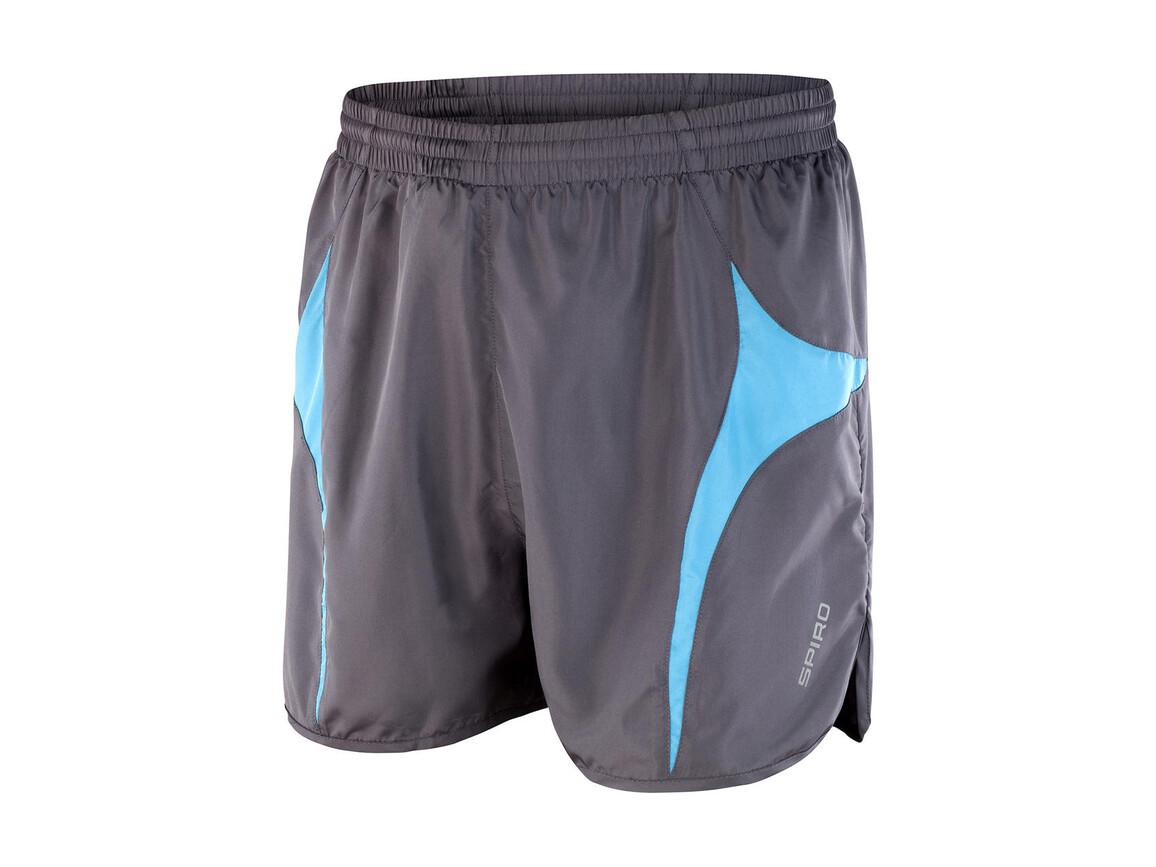 Result Unisex Micro Lite Running Shorts, Grey/Aqua, M bedrucken, Art.-Nr. 029331444
