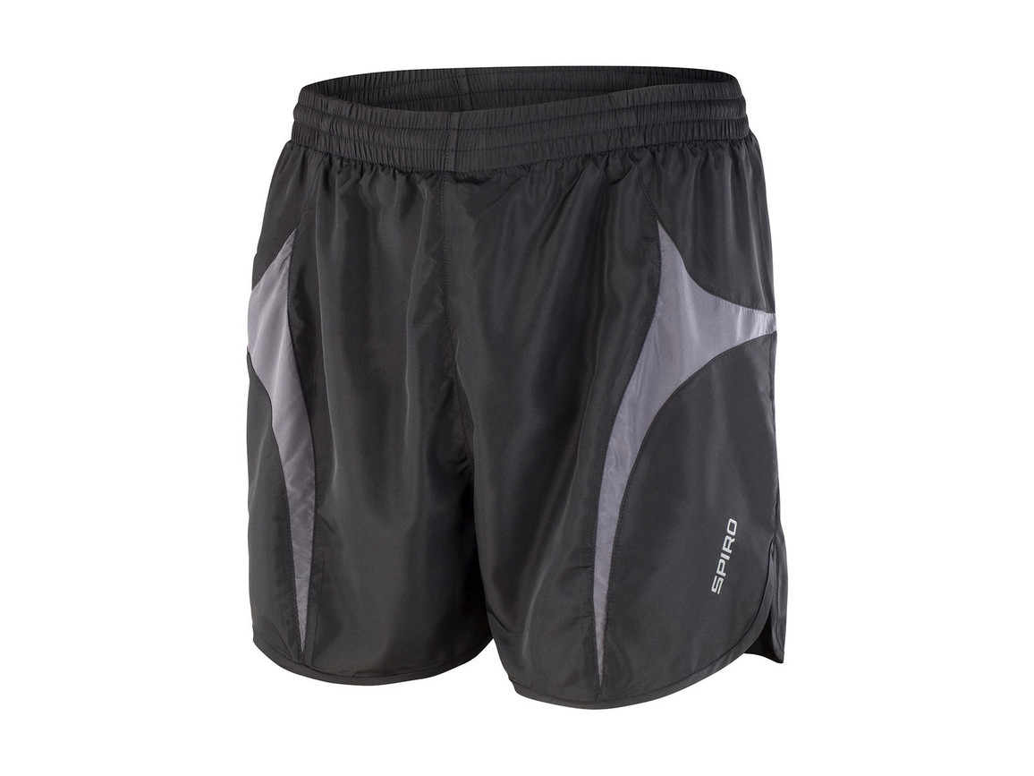 Result Unisex Micro Lite Running Shorts, Black/Grey, XS bedrucken, Art.-Nr. 029331512