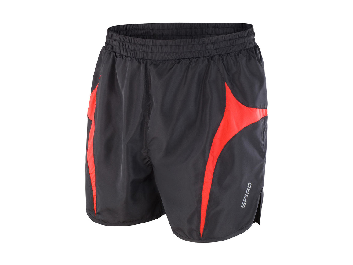 Result Unisex Micro Lite Running Shorts, Black/Red, M bedrucken, Art.-Nr. 029331544