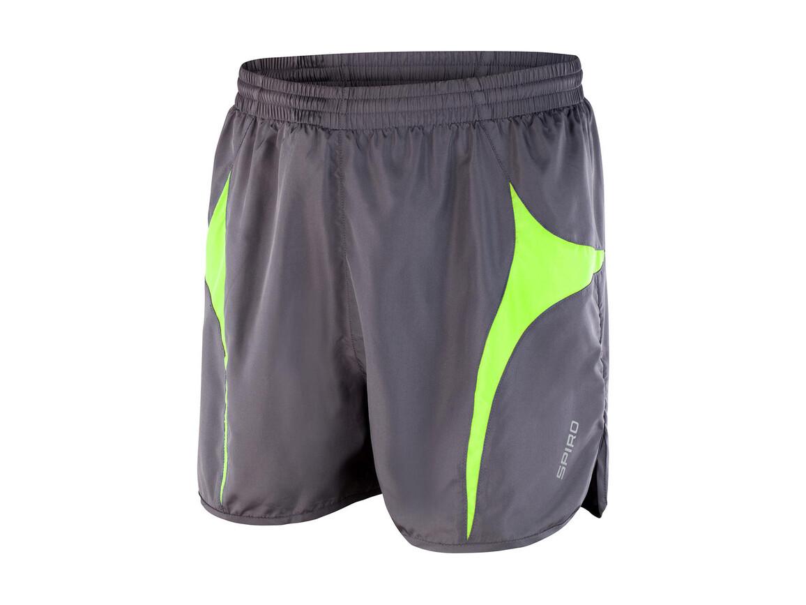 Result Unisex Micro Lite Running Shorts, Grey/Lime, XL bedrucken, Art.-Nr. 029331566