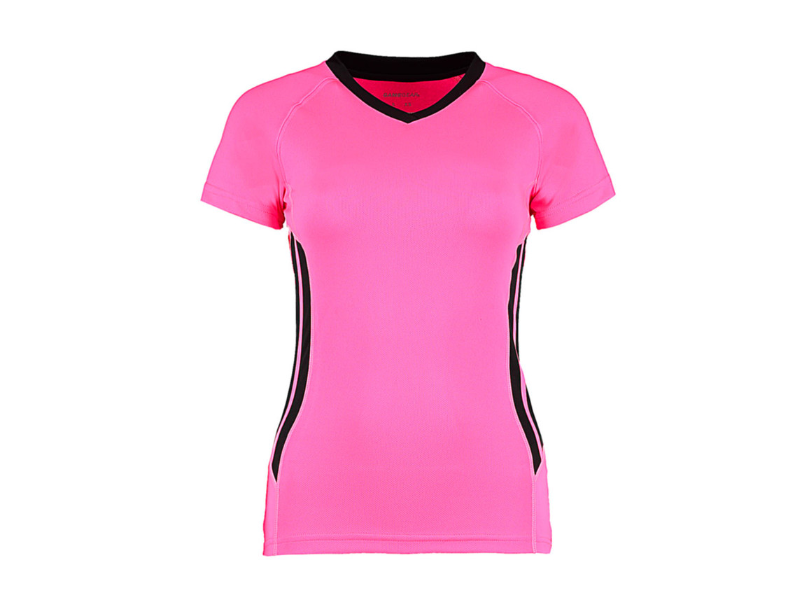 Kustom Kit Women`s Regular Fit Cooltex® Training Tee, Fluorescent Pink/Black, L bedrucken, Art.-Nr. 113111783