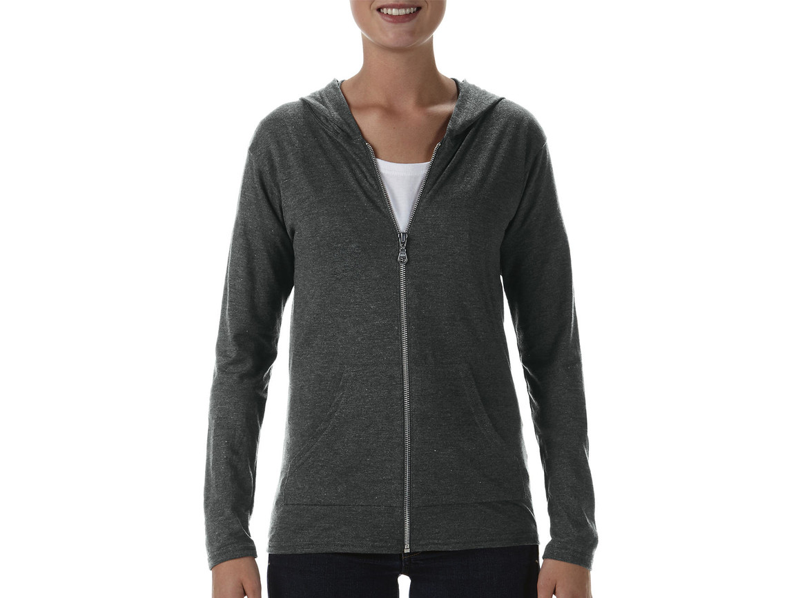 Anvil Womens` Tri-Blend Full Zip Hooded Jacket, Heather Dark Grey, S bedrucken, Art.-Nr. 200081333