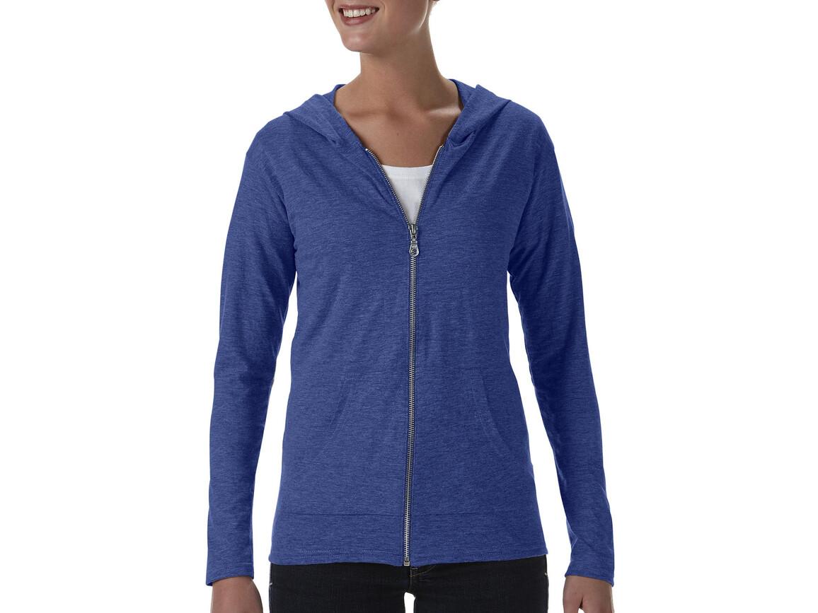 Anvil Womens` Tri-Blend Full Zip Hooded Jacket, Heather Blue, XS bedrucken, Art.-Nr. 200083162
