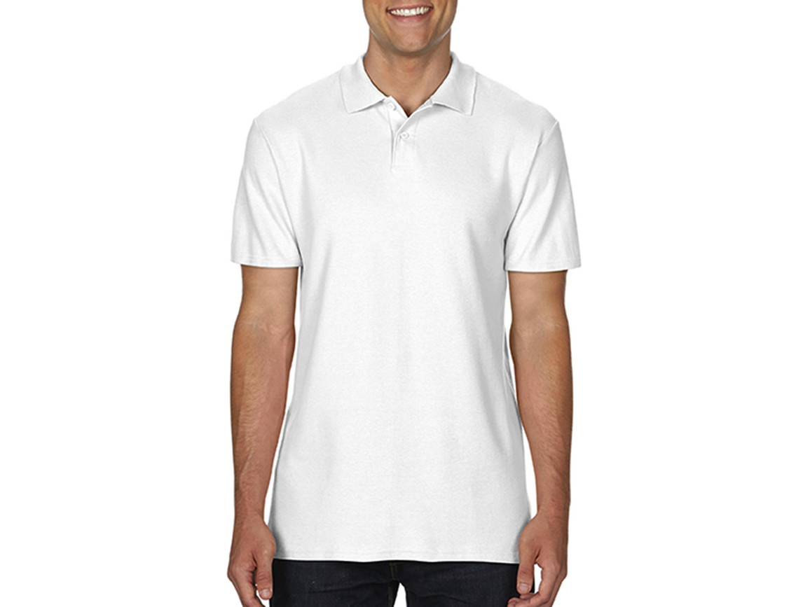Gildan Softstyle® Adult Double Pique Polo, White, M bedrucken, Art.-Nr. 501090004