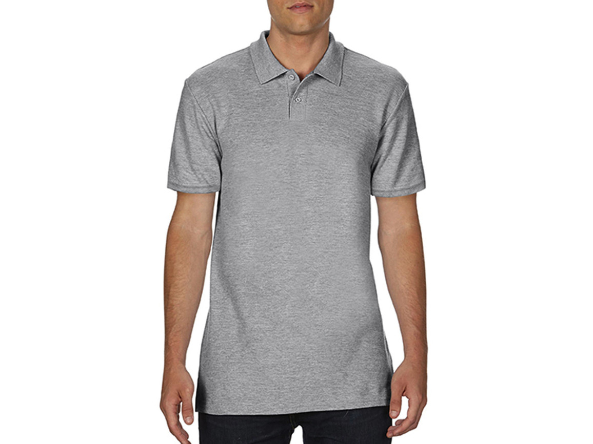 Gildan Softstyle® Adult Double Pique Polo, Sport Grey, M bedrucken, Art.-Nr. 501091254