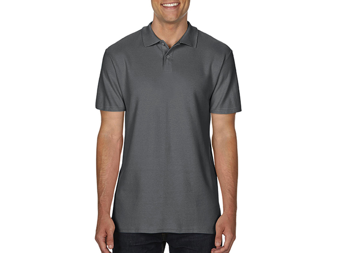 Gildan Softstyle® Adult Double Pique Polo, Charcoal, M bedrucken, Art.-Nr. 501091304
