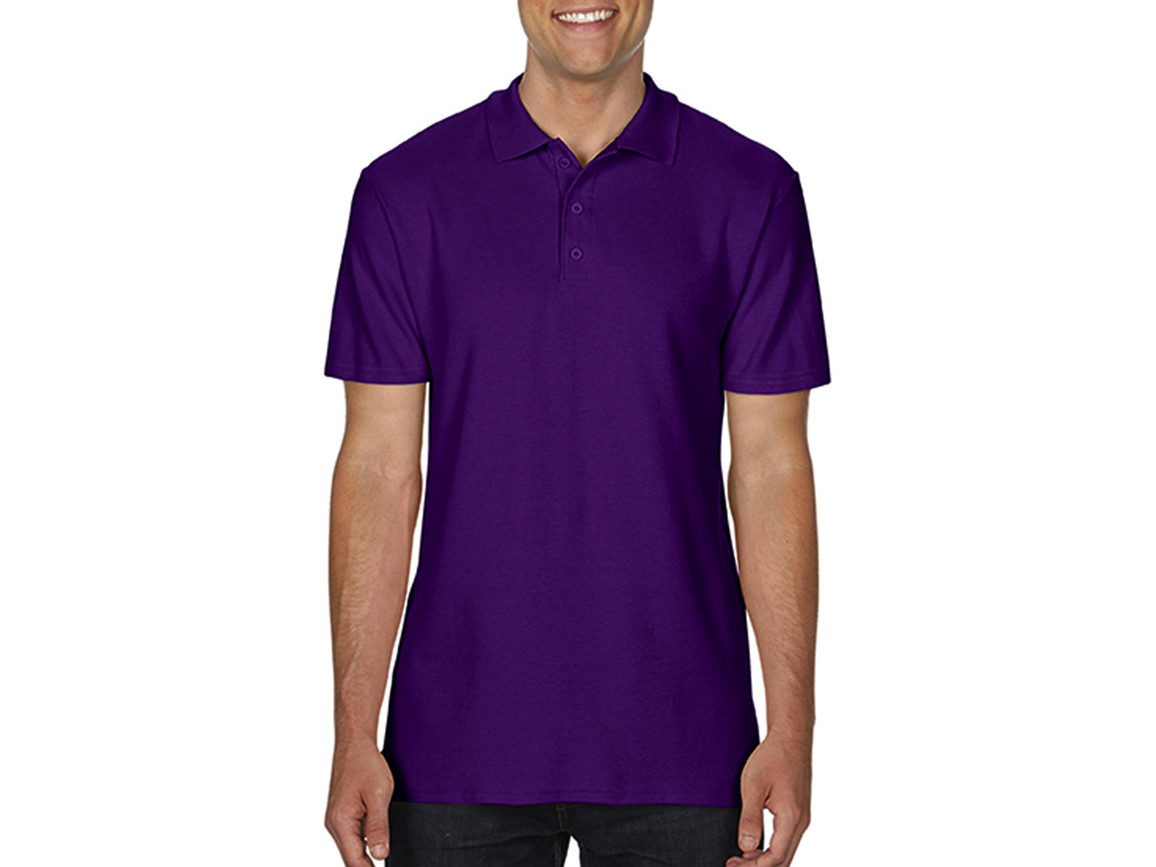 Gildan Softstyle® Adult Double Pique Polo, Purple, M bedrucken, Art.-Nr. 501093494