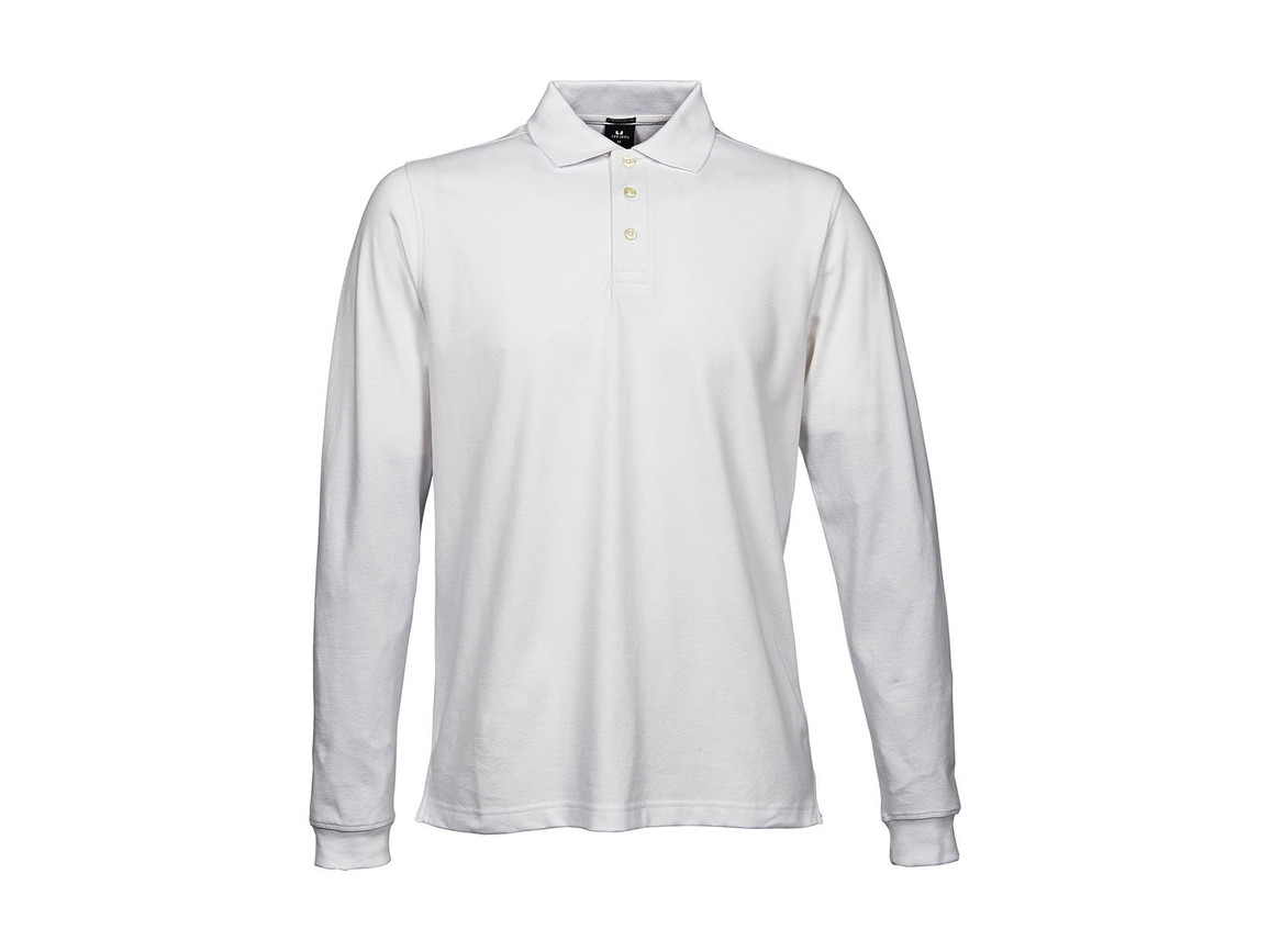 Tee Jays Luxury LS Stretch Polo, White, XL bedrucken, Art.-Nr. 501540006
