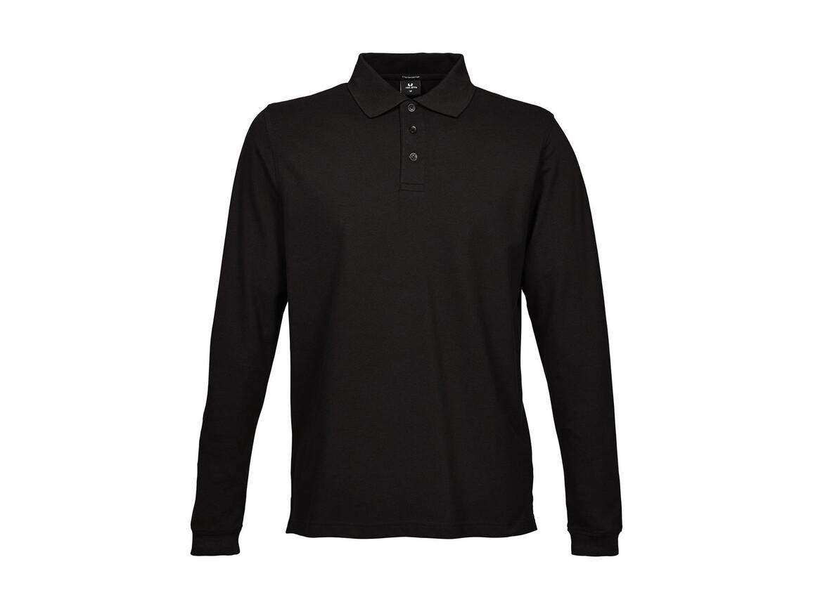 Tee Jays Luxury LS Stretch Polo, Black, 2XL bedrucken, Art.-Nr. 501541017