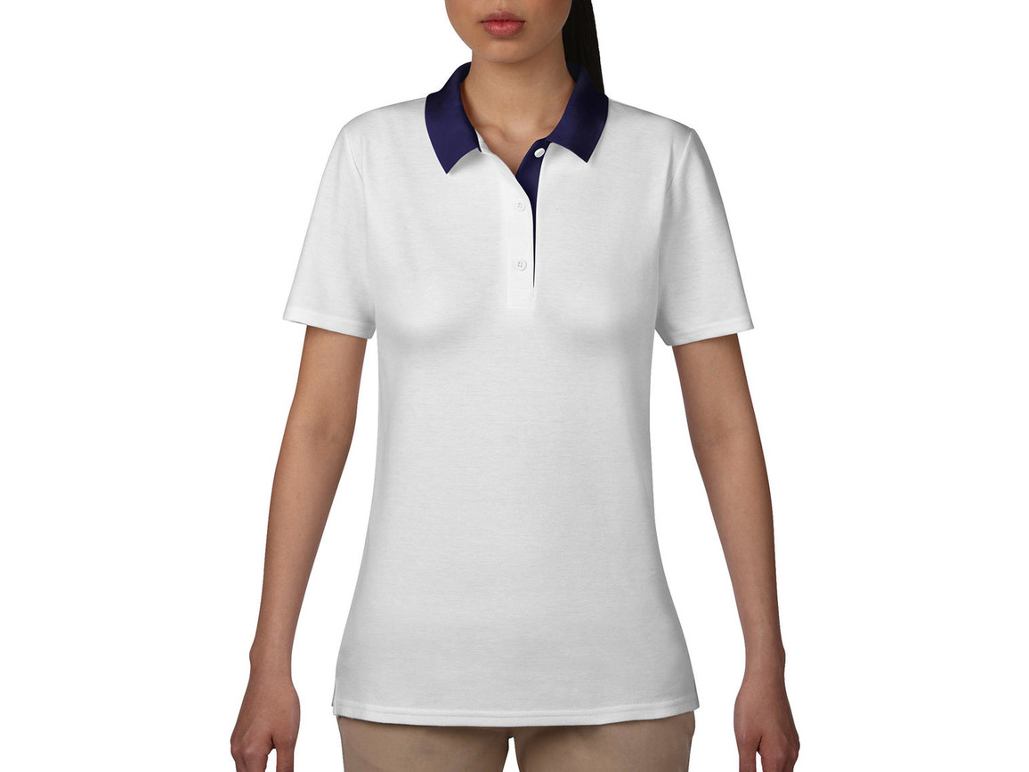 Anvil Women`s Double Piqué Polo, White/Navy, S bedrucken, Art.-Nr. 503080523