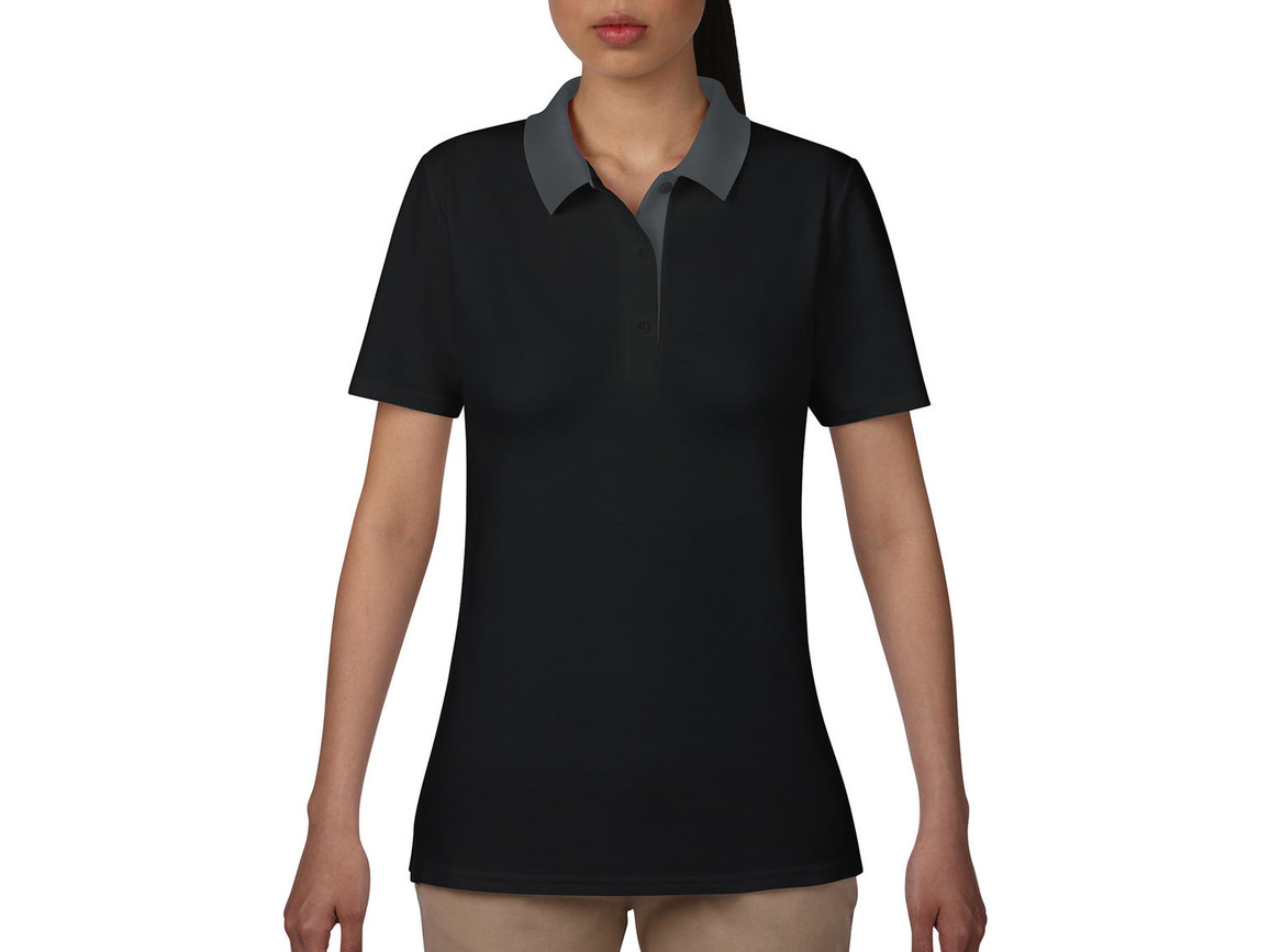 Anvil Women`s Double Piqué Polo, Black/Charcoal, S bedrucken, Art.-Nr. 503081593