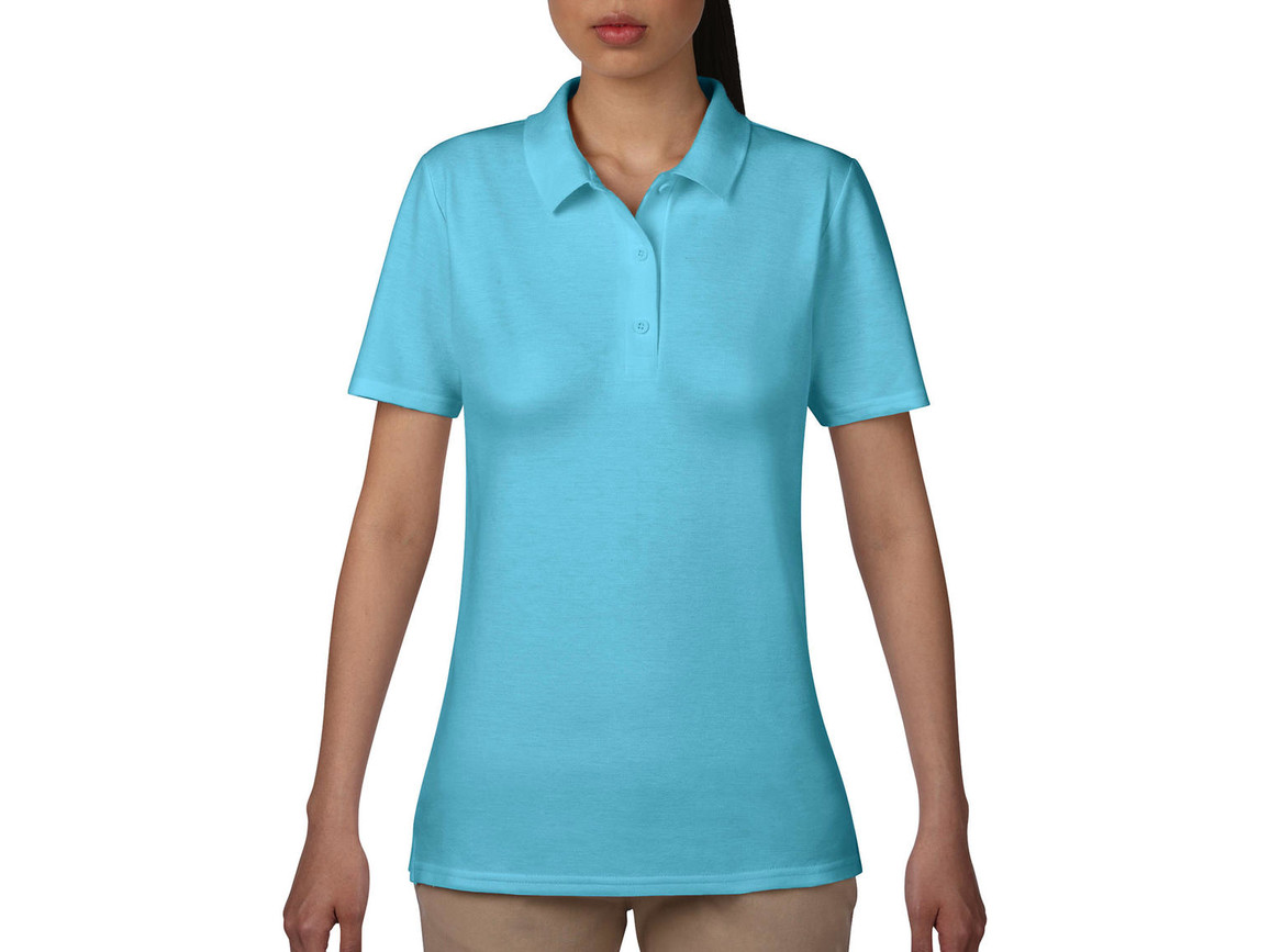 Anvil Women`s Double Piqué Polo, Pool Blue, M bedrucken, Art.-Nr. 503083284