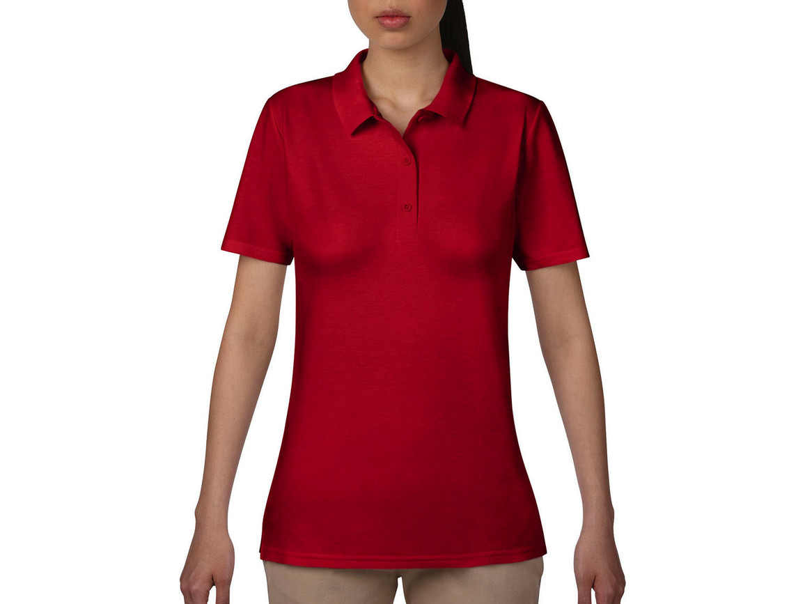 Anvil Women`s Double Piqué Polo, Red, 2XL bedrucken, Art.-Nr. 503084007
