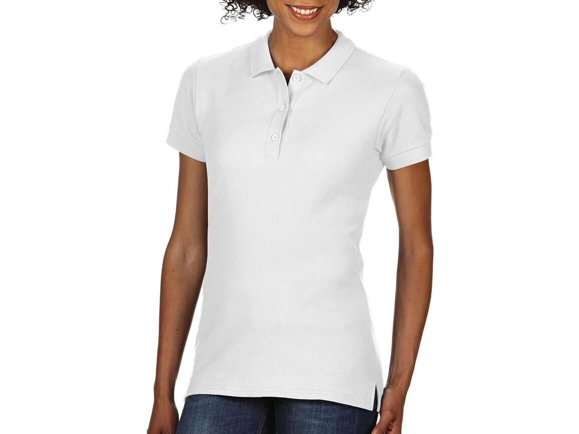 Gildan Premium Cotton Ladies` Double Piqué Polo, White, S bedrucken, Art.-Nr. 503090003