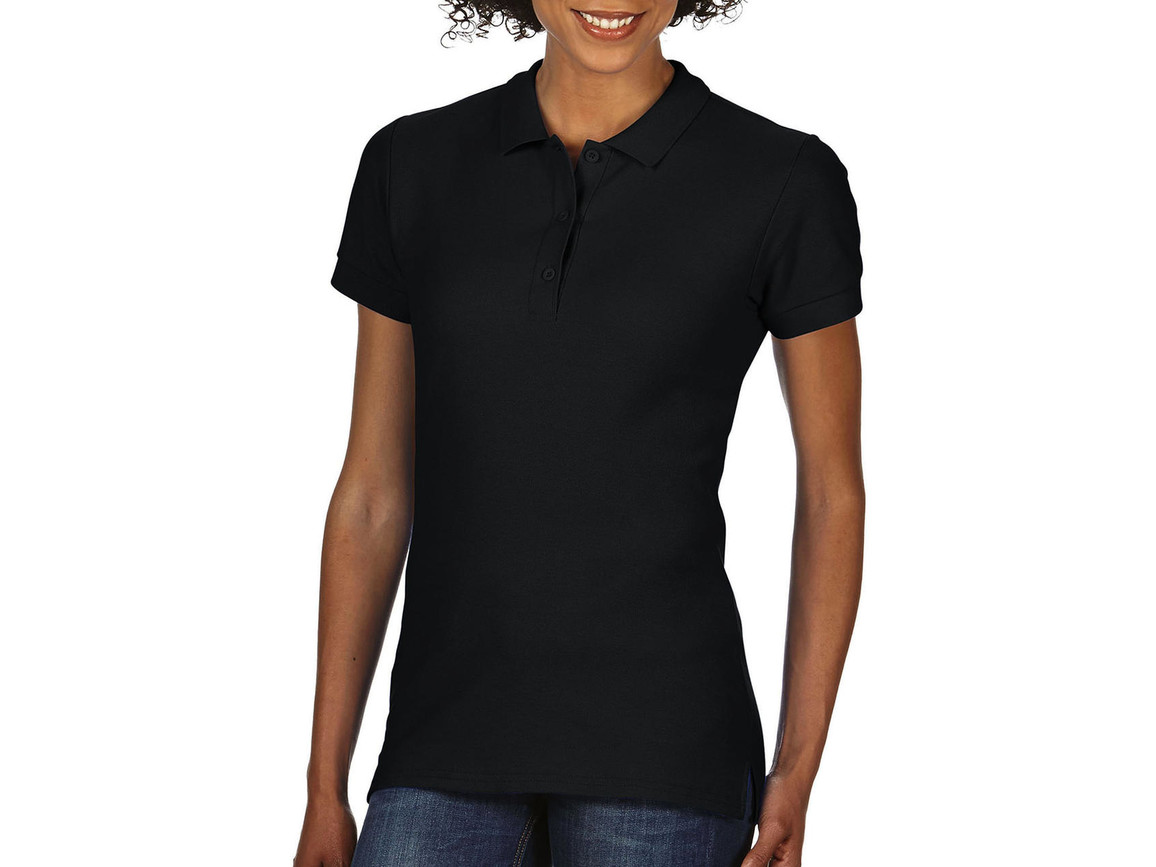 Gildan Premium Cotton Ladies` Double Piqué Polo, Black, 2XL bedrucken, Art.-Nr. 503091017