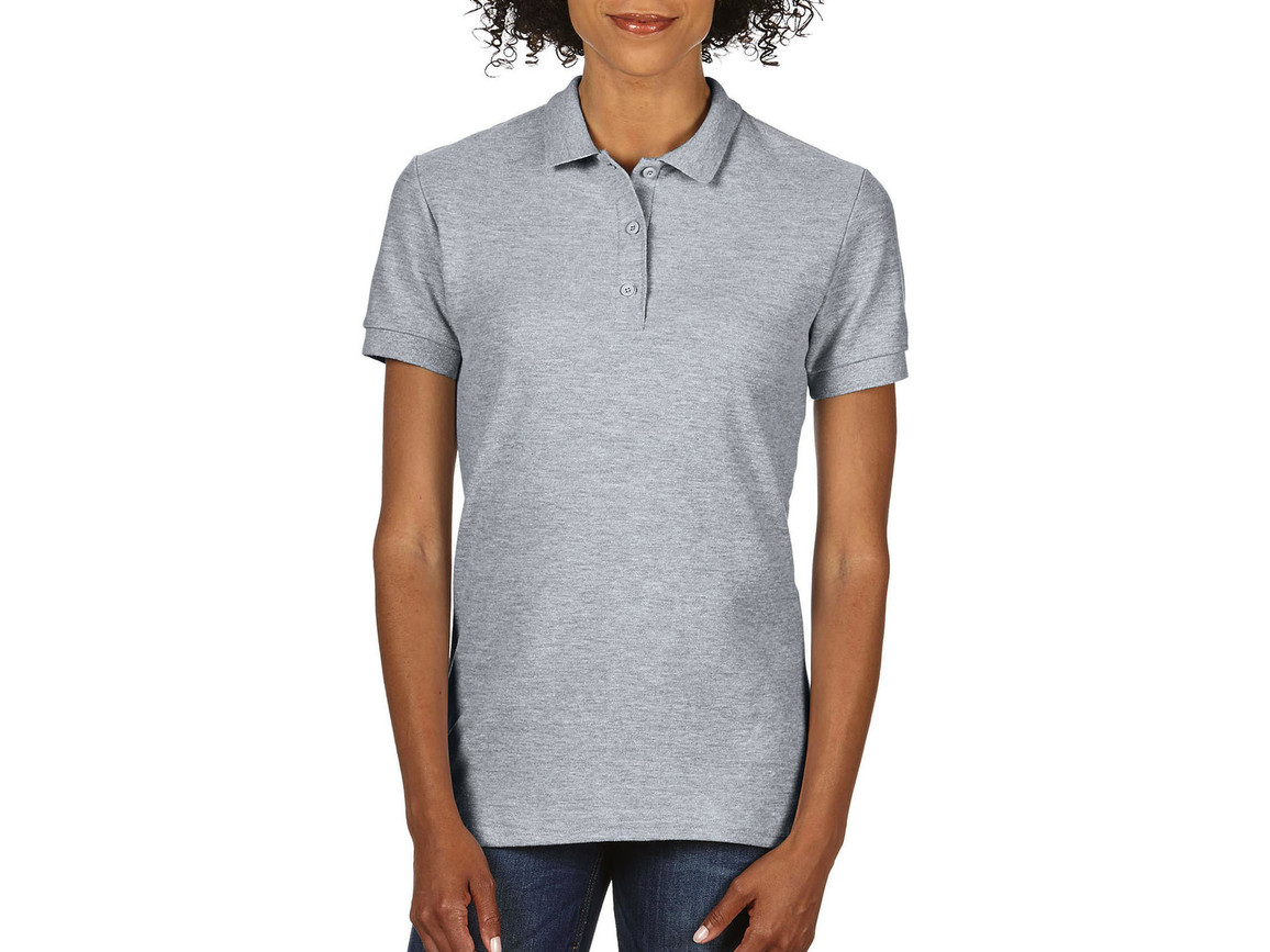 Gildan Premium Cotton Ladies` Double Piqué Polo, Sport Grey, M bedrucken, Art.-Nr. 503091254