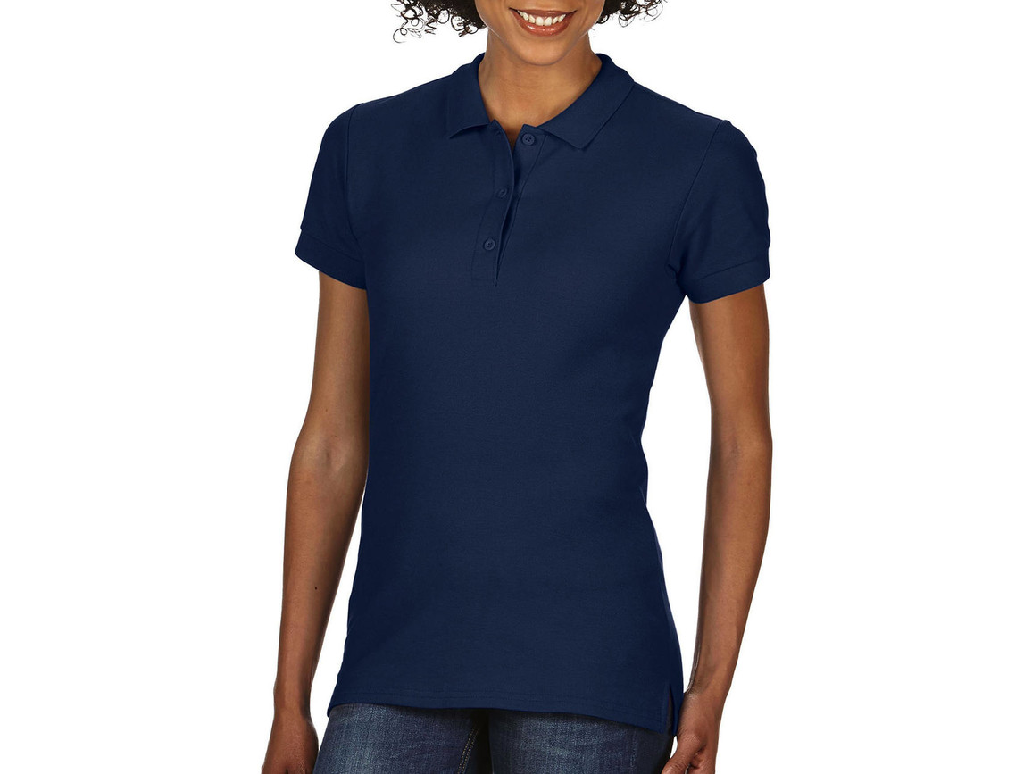 Gildan Premium Cotton Ladies` Double Piqué Polo, Navy, XL bedrucken, Art.-Nr. 503092006