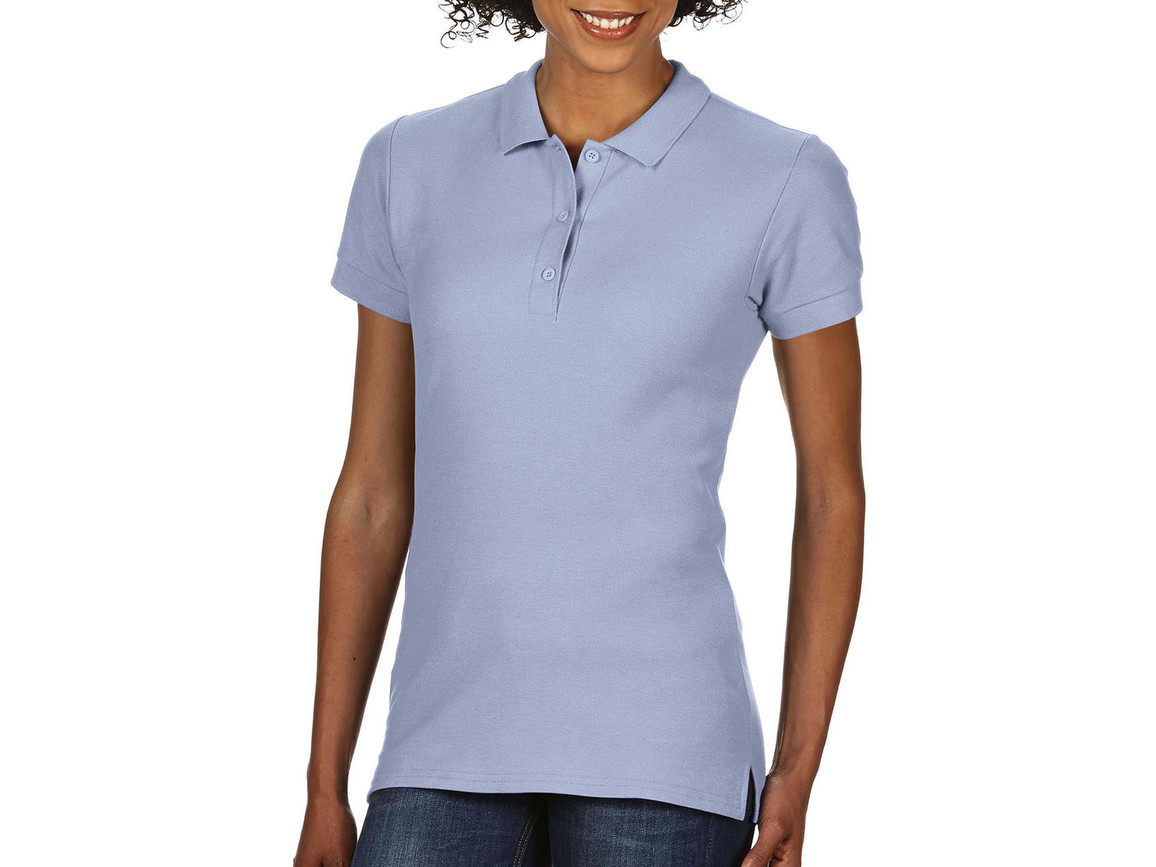 Gildan Premium Cotton Ladies` Double Piqué Polo, Light Blue, M bedrucken, Art.-Nr. 503093214
