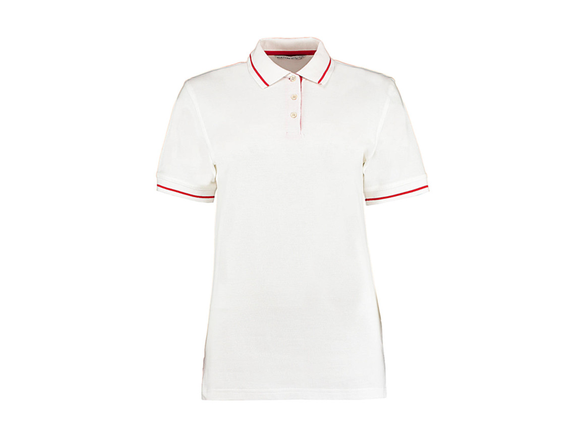 Kustom Kit Women`s St. Mellion Polo, White/Red, 2XL bedrucken, Art.-Nr. 503110576