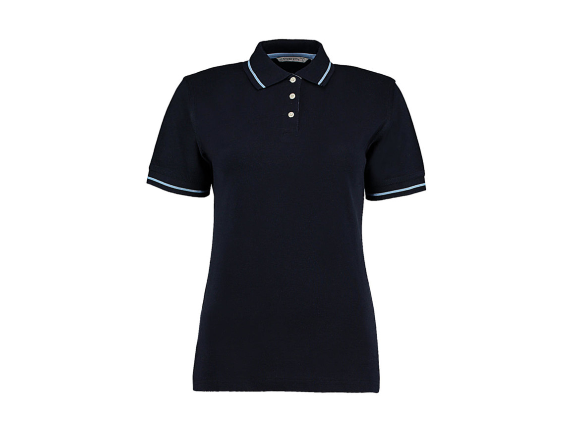 Kustom Kit Women`s St. Mellion Polo, Navy/Light Blue, S bedrucken, Art.-Nr. 503112412