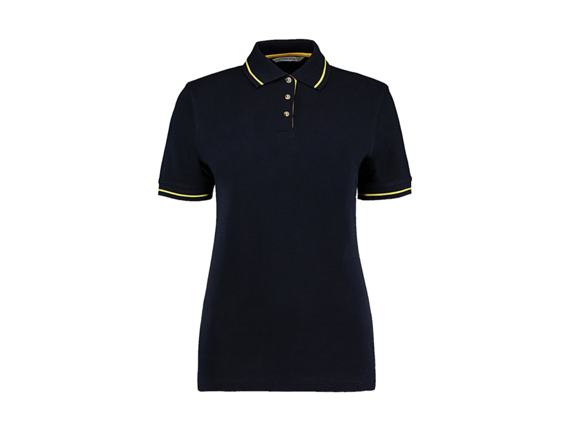 Kustom Kit Women`s St. Mellion Polo, Navy/Sun Yellow, 2XL bedrucken, Art.-Nr. 503112466