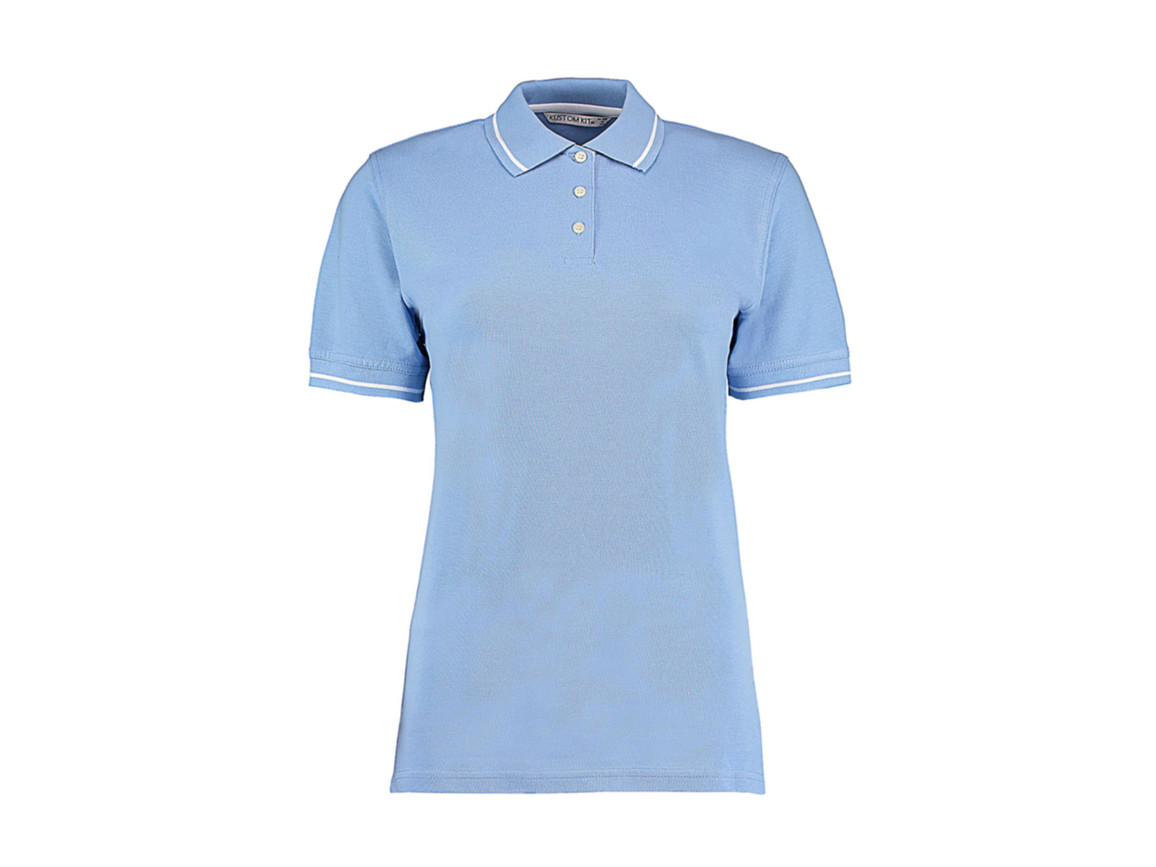 Kustom Kit Women`s St. Mellion Polo, Light Blue/White, S bedrucken, Art.-Nr. 503113592
