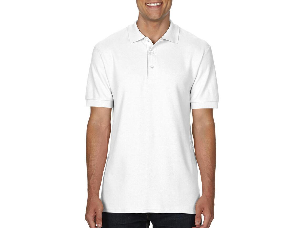 Gildan Premium Cotton Double Piqué Polo, White, L bedrucken, Art.-Nr. 504090005