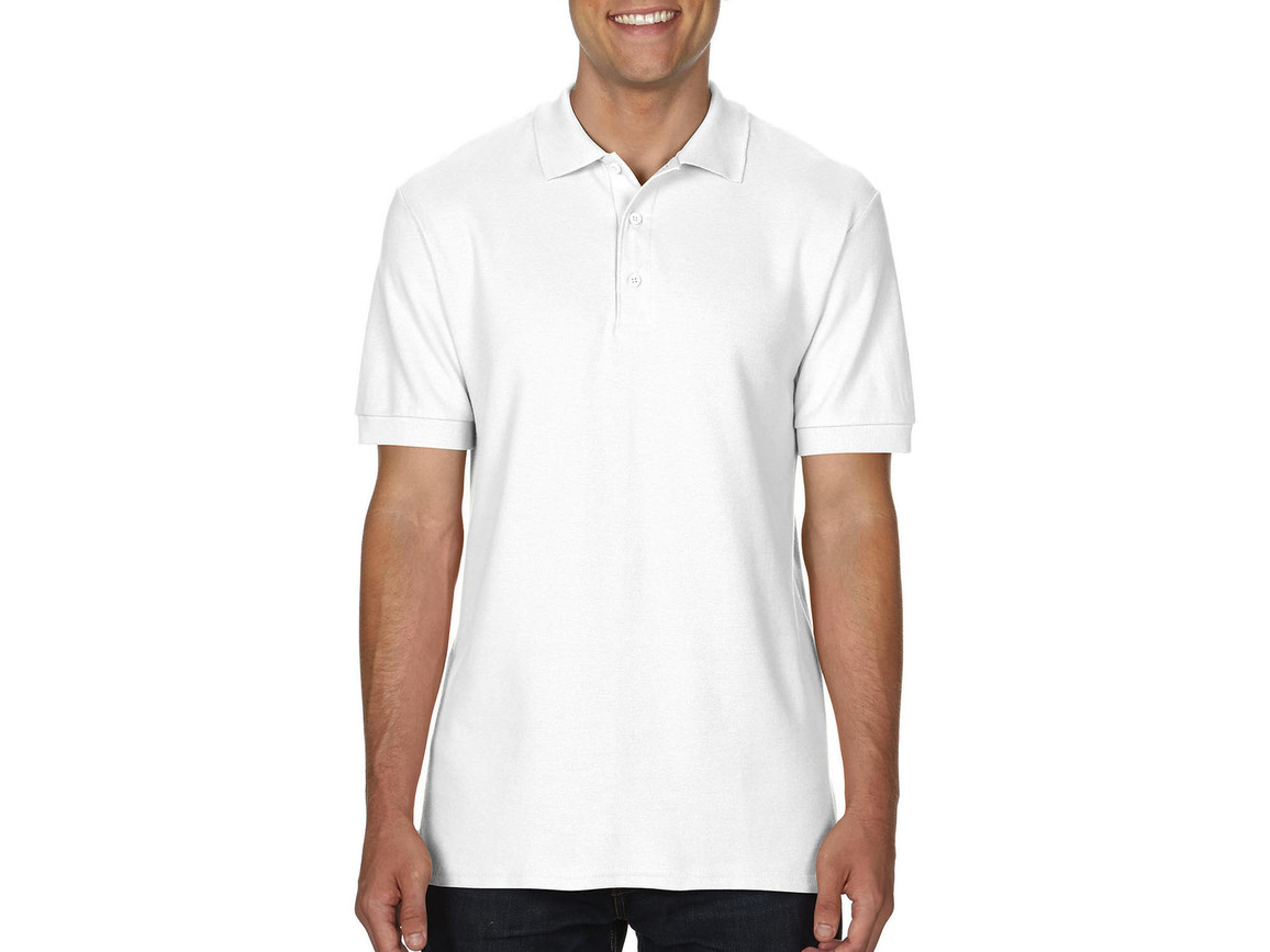 Gildan Premium Cotton Double Piqué Polo, White, M bedrucken, Art.-Nr. 504090004