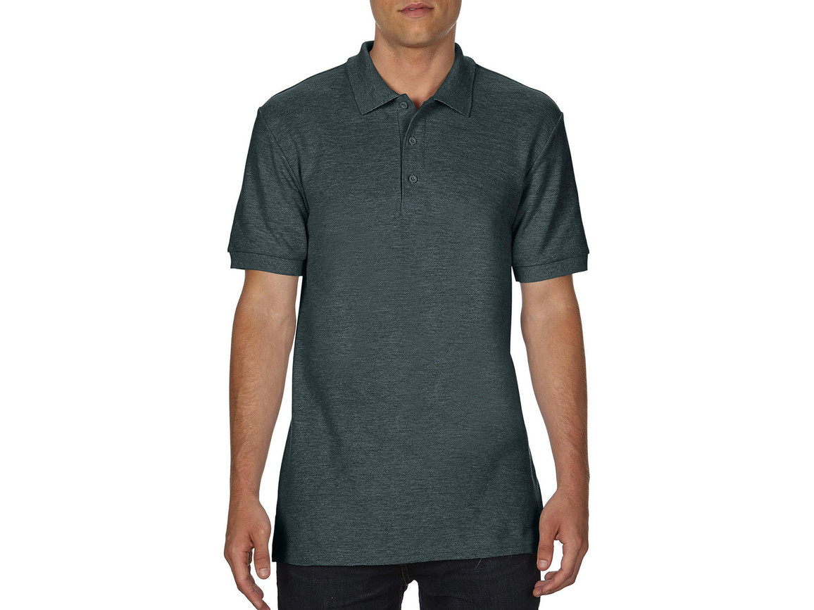 Gildan Premium Cotton Double Piqué Polo, Dark Heather, 2XL bedrucken, Art.-Nr. 504091267