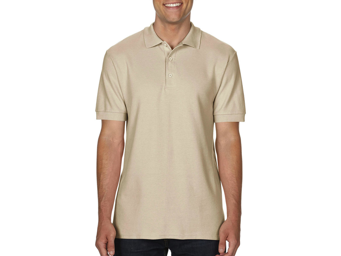 Gildan Premium Cotton Double Piqué Polo, Sand, M bedrucken, Art.-Nr. 504097414
