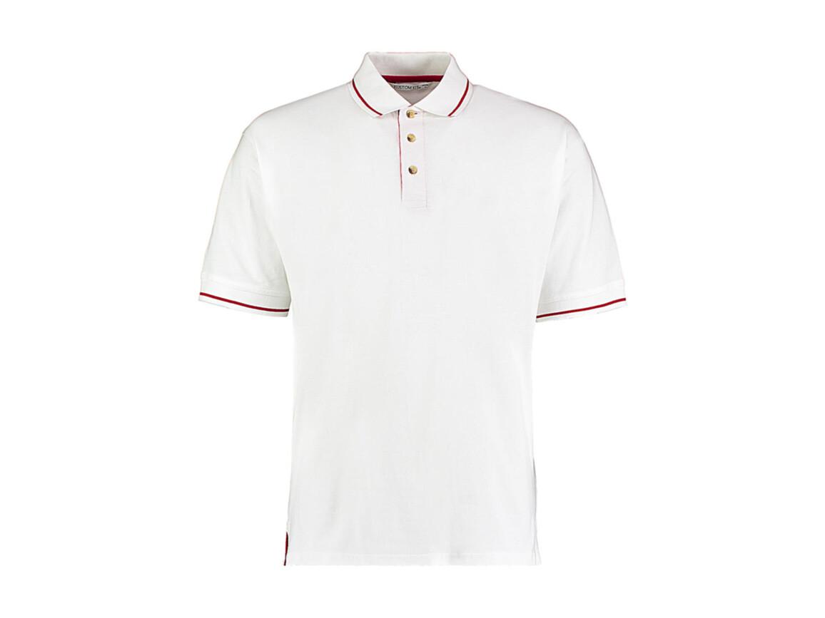 Kustom Kit Men`s Classic Fit St. Mellion Polo, White/Bright Red, 2XL bedrucken, Art.-Nr. 504110547