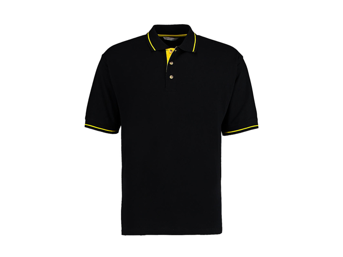 Kustom Kit Men`s Classic Fit St. Mellion Polo, Black/Yellow, 2XL bedrucken, Art.-Nr. 504111477