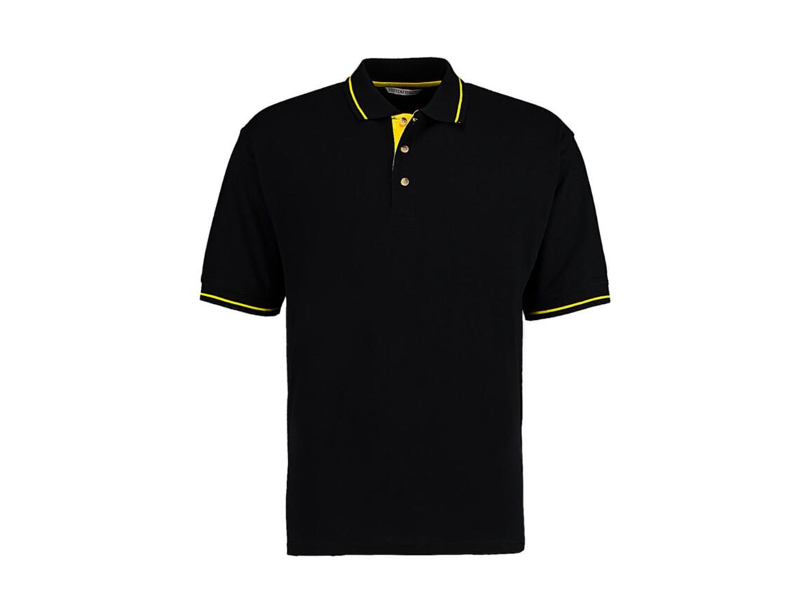 Kustom Kit Men`s Classic Fit St. Mellion Polo, Black/Yellow, S bedrucken, Art.-Nr. 504111473